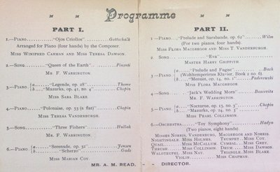 Teresa Vanderburgh's Musical Scrapbook #1 - Recital Program