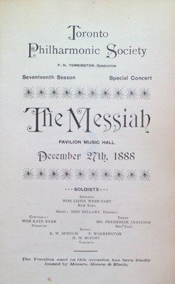 Teresa Vanderburgh's Musical Scrapbook #1 - Toronto Philharmonic Society Program