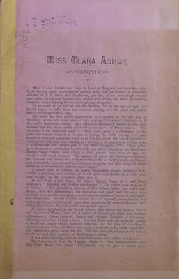 Teresa Vanderburgh's Musical Scrapbook #1 - Short Biography (Pamphlet) About Miss Clara Asher, Pianist