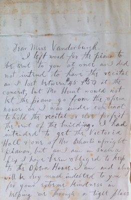 Teresa Vanderburgh's Musical Scrapbook #1 - Letter to Miss Vanderburgh