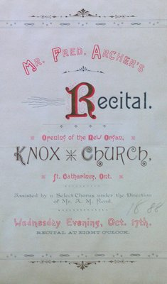 Teresa Vanderburgh's Musical Scrapbook #1 - Program for a Recital by Frederick Archer