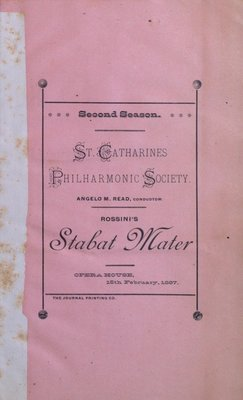 Teresa Vanderburgh's Musical Scrapbook #1 - St. Catharines Philharmonic Society Program