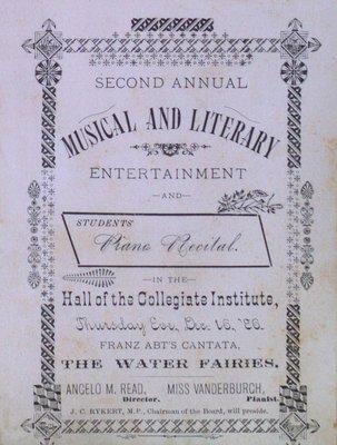 Teresa Vanderburgh's Musical Scrapbook #1 - Musical and Literary Entertainment and Students' Piano Recital