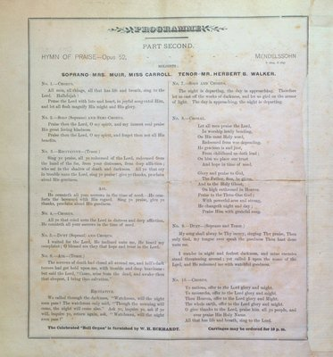 Teresa Vanderburgh's Musical Scrapbook #1 - St. Catharines Philharmonic Society Program: Hymn of Praise