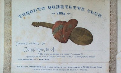 Teresa Vanderburgh's Musical Scrapbook #1 - Toronto Quartette Club Program