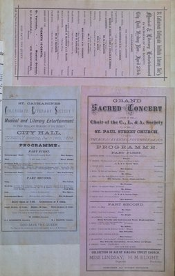 Teresa Vanderburgh's Musical Scrapbook #1 - St Catharines Collegiate Literary Society Concert Programs & Grand Sacred Concert Program