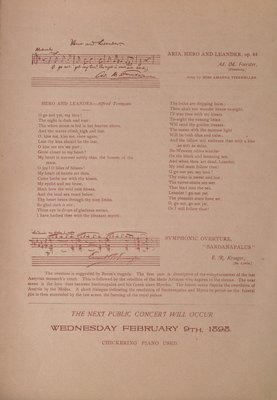 Teresa Vanderburgh's Musical Scrapbook #2 - Inside Cover Musical Program