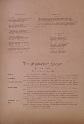 Teresa Vanderburgh's Musical Scrapbook #2 - Manuscript Society of New York - Program