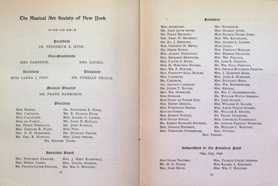 Teresa Vanderburgh's Musical Scrapbook #2 - Musical Art Society of New York Concert - Program