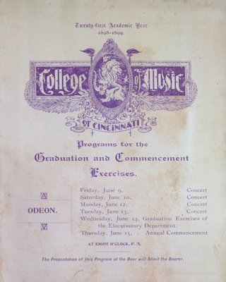 Teresa Vanderburgh's Musical Scrapbook #2 - Graduation and Commencement Program for the College of Music of Cincinnati