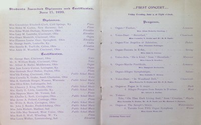 Teresa Vanderburgh's Musical Scrapbook #2 - Graduation and Commencement Program for the College of Music of Cincinnati