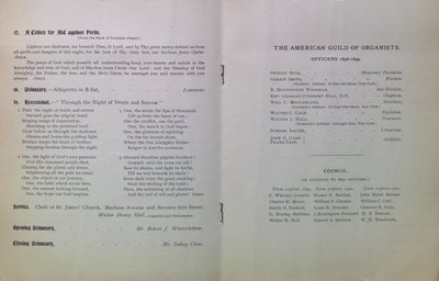 Teresa Vanderburgh's Musical Scrapbook #2 - The American Guild of Organists Order of Service