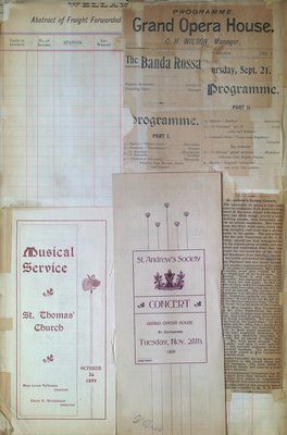 Teresa Vanderburgh's Musical Scrapbook #2 - Programs for one Musical Service and two Concerts plus a newspaper review