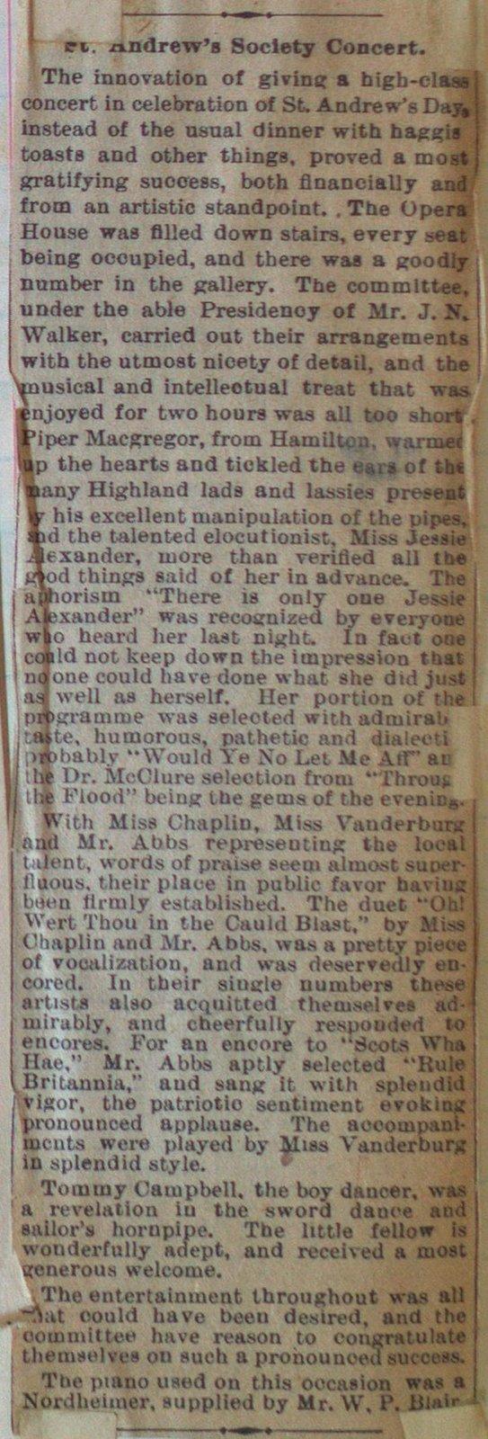 Teresa Vanderburgh's Musical Scrapbook #2 - Review of the St. Andrew's Society Concert