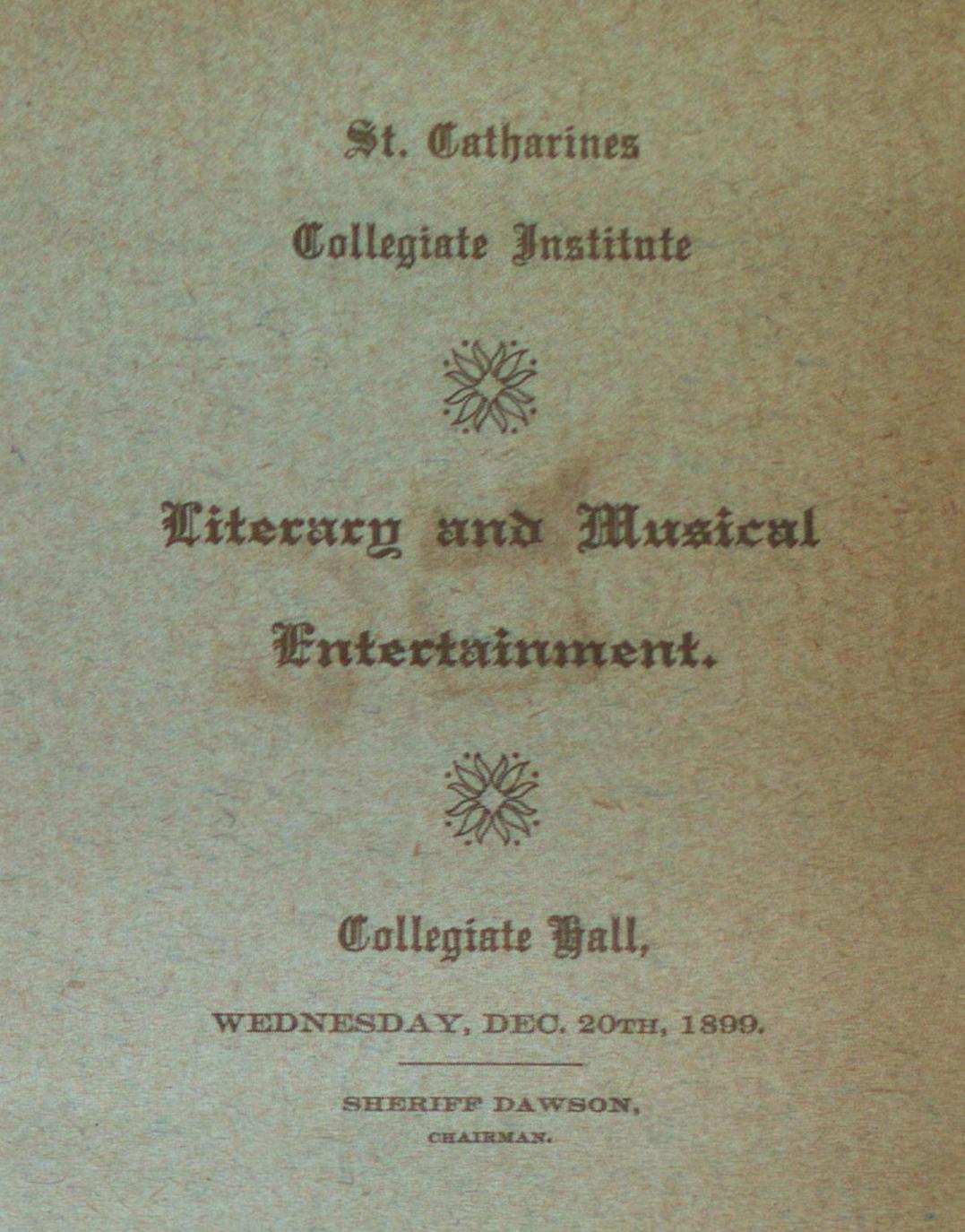 Teresa Vanderburgh's Musical Scrapbook #2 - Literary and Musical Entertainment at Collegiate Hall