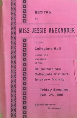 Teresa Vanderburgh's Musical Scrapbook #2 - Recital by Miss Jessie Alexander