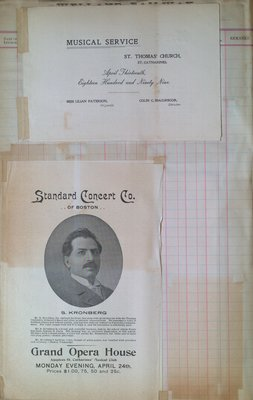 Teresa Vanderburgh's Musical Scrapbook #2 - Musical Service Program and a S. Kronberg Concert Program