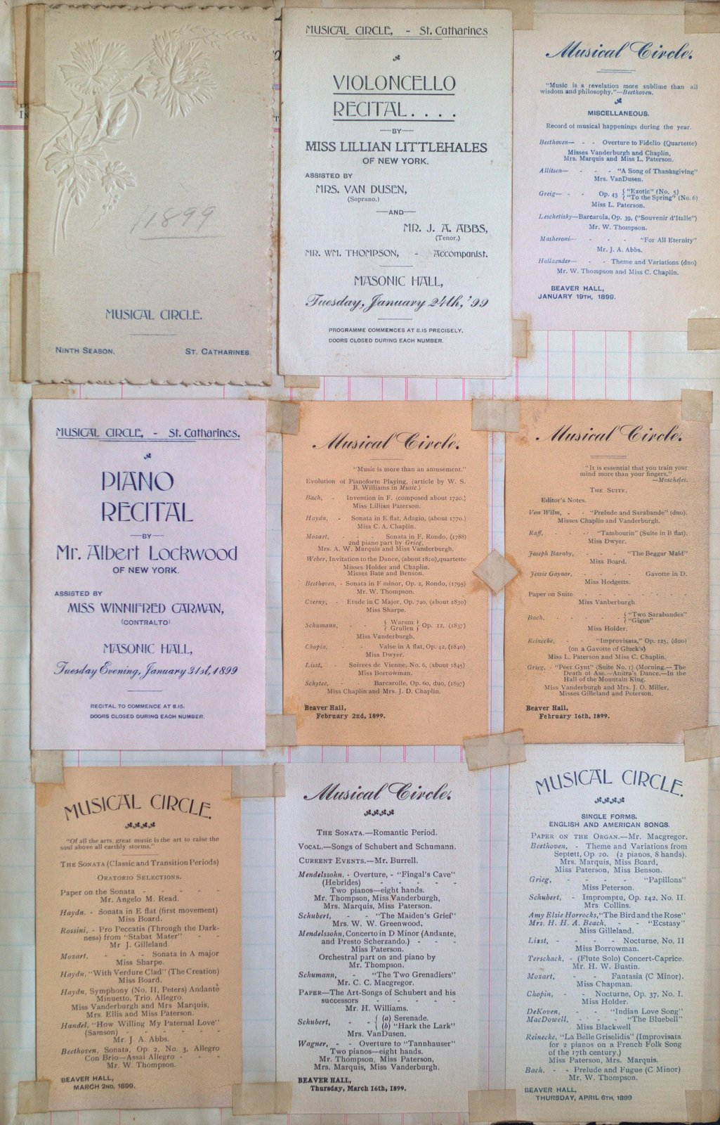 Teresa Vanderburgh's Musical Scrapbook #2 - Musical Circle Programs