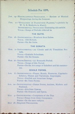 Teresa Vanderburgh's Musical Scrapbook #2 - Musical Circle Schedule of Performances for 1899