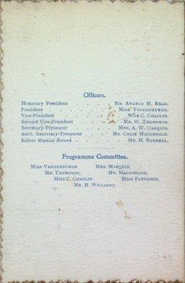 Teresa Vanderburgh's Musical Scrapbook #2 - Musical Circle Schedule of Performances for 1899