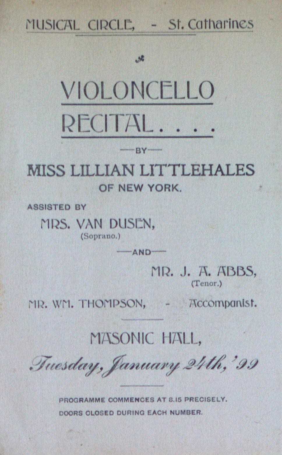 Teresa Vanderburgh's Musical Scrapbook #2 - Musical Circle Violoncello Recital