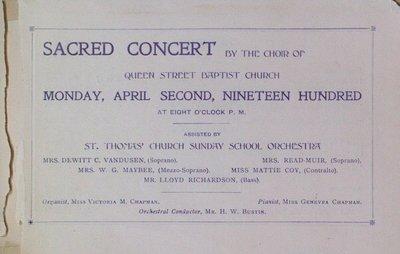 Teresa Vanderburgh's Musical Scrapbook #2 - Sacred Concert by Queen Street Baptist Church Choir