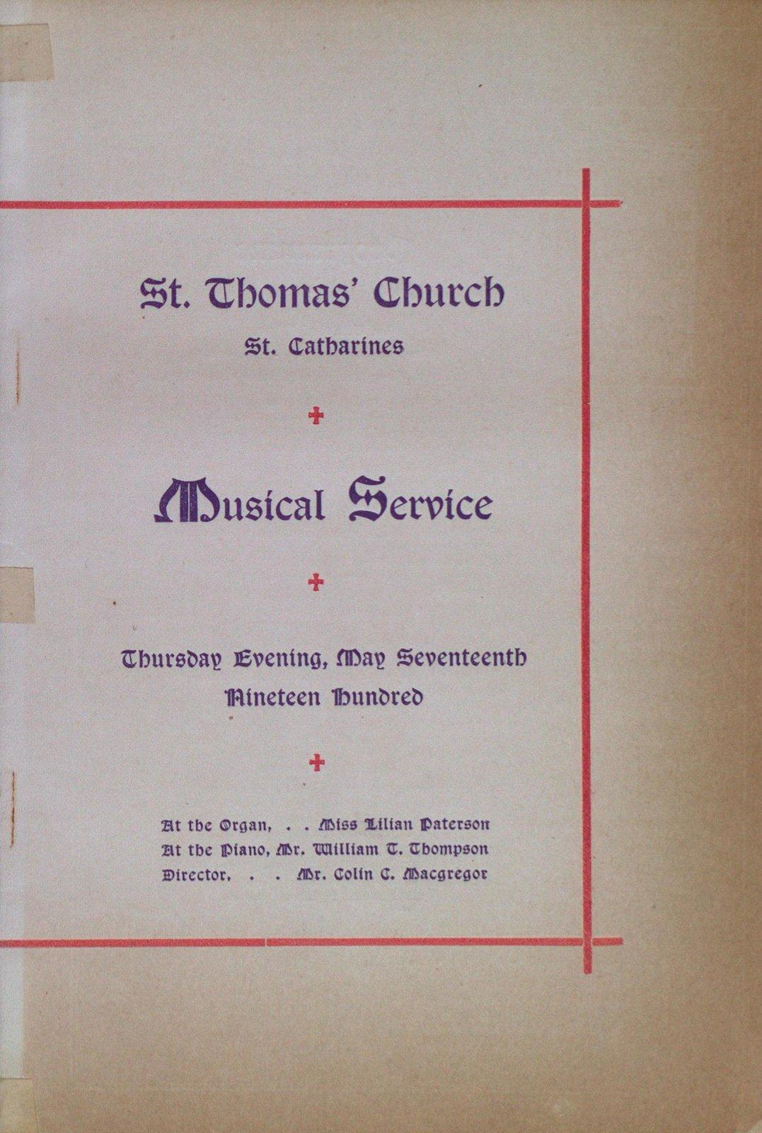 Teresa Vanderburgh's Musical Scrapbook #2 - St. Thomas' Church Musical Service