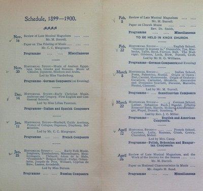 Teresa Vanderburgh's Musical Scrapbook #2 - Musical Circle 1899-1900 Season Schedule