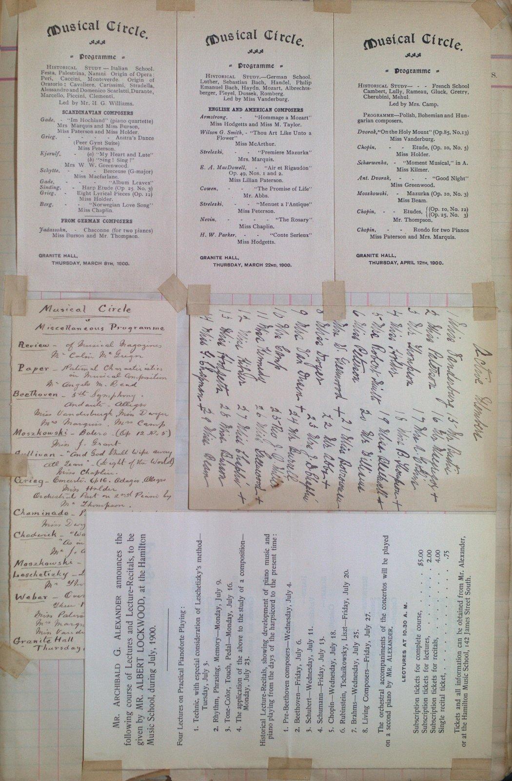 Teresa Vanderburgh's Musical Scrapbook #2 - Musical Circle Programs & a Program for Mr. Albert Lockwood's Lectures