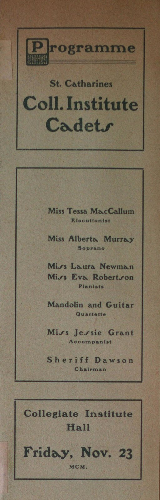 Teresa Vanderburgh's Musical Scrapbook #2 - St. Catharines Collegiate Institute Cadets