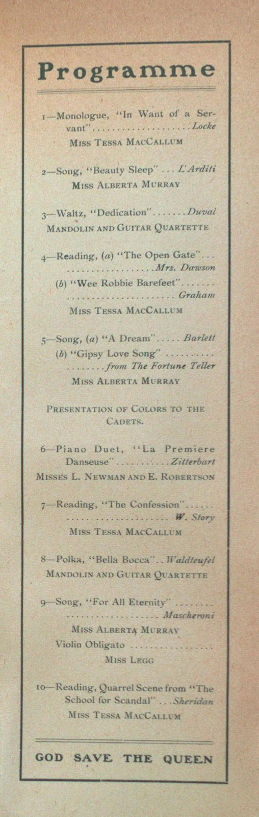 Teresa Vanderburgh's Musical Scrapbook #2 - St. Catharines Collegiate Institute Cadets
