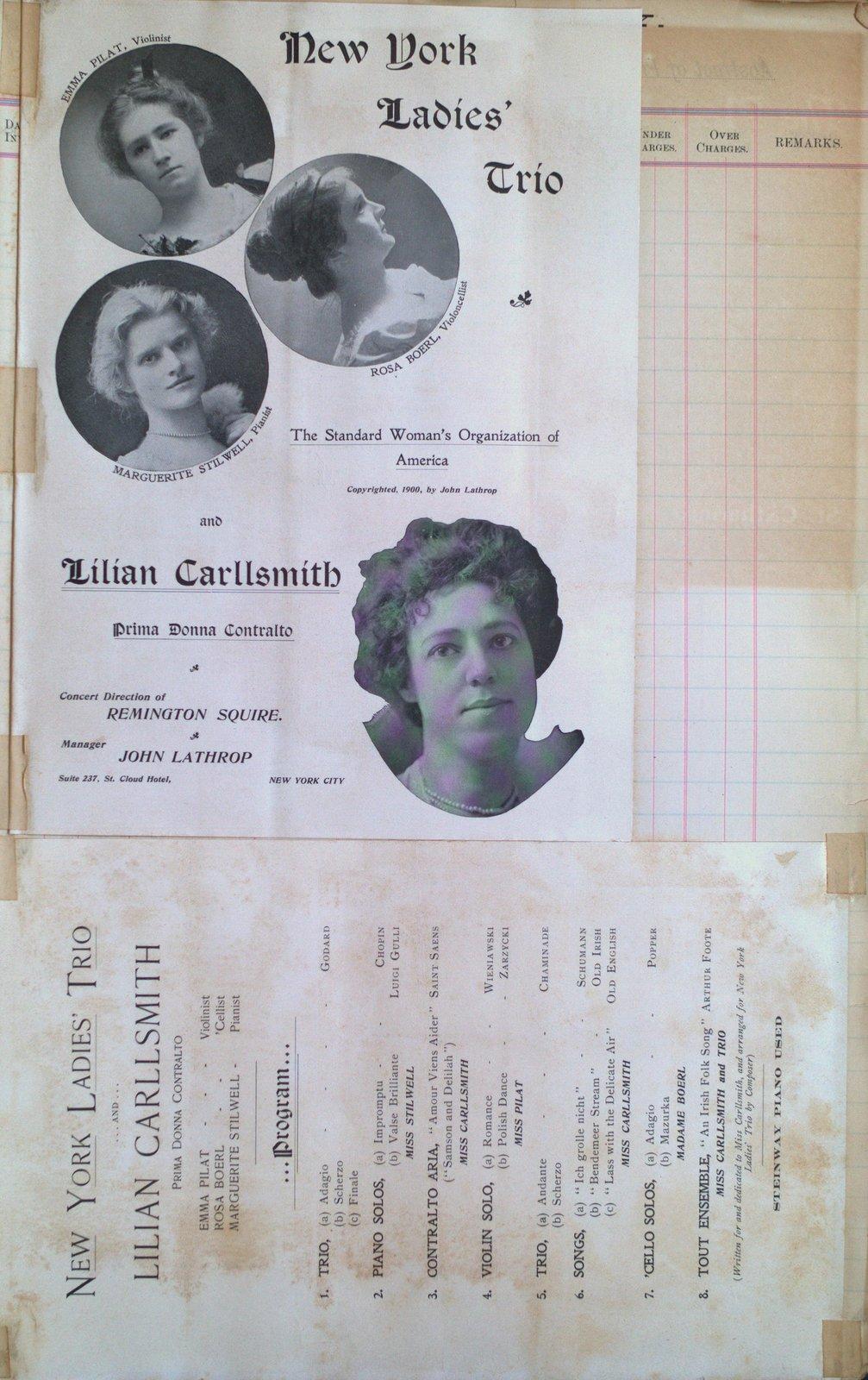 Teresa Vanderburgh's Musical Scrapbook #2 - New York Ladies Trio & Lilian Carllsmith