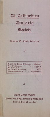 Teresa Vanderburgh's Musical Scrapbook #2 - St. Catharines Oratorio Society Performing Judas Maccabaeus