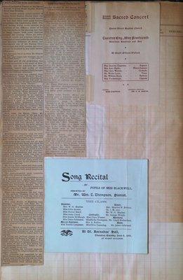 Teresa Vanderburgh's Musical Scrapbook #2 - Sacred Concert at Queen Street Baptist Church & Piano Recital Program