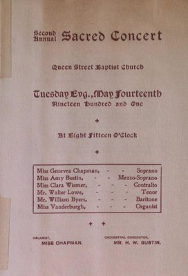 Teresa Vanderburgh's Musical Scrapbook #2 - Sacred Concert at Queen Street Baptist Church