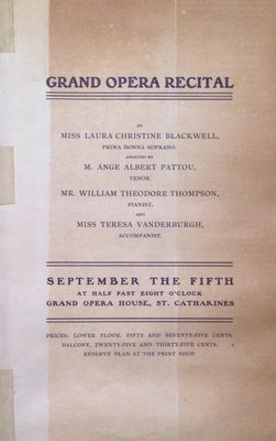 Teresa Vanderburgh's Musical Scrapbook #2 - Grand Opera Recital by Miss Laura Blackwell