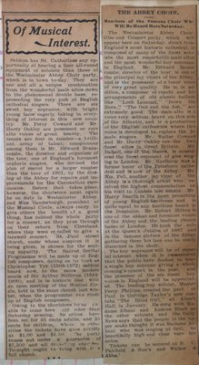 Teresa Vanderburgh's Musical Scrapbook #2 - Westminster Abbey Choir Newspaper Announcement