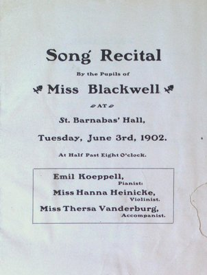 Teresa Vanderburgh's Musical Scrapbook #2 - Program for a Song Recital by the Pupils of Miss Blackwell