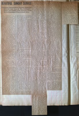 Teresa Vanderburgh's Musical Scrapbook #2 - News Article about a Service for the Restoration of Peace in South Africa