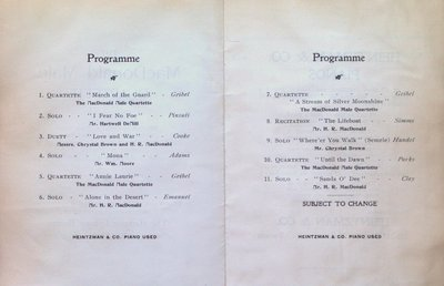 Teresa Vanderburgh's Musical Scrapbook #2 - Program for the MacDonald Male Quartette