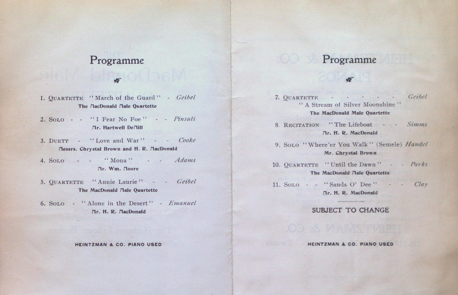 Teresa Vanderburgh's Musical Scrapbook #2 - Program for the MacDonald Male Quartette