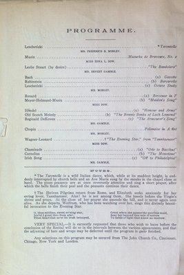 Teresa Vanderburgh's Musical Scrapbook #2 - Program for a Musical Recital