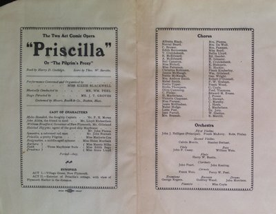 "Teresa Vanderburgh's Musical Scrapbook #2 - Program for the Comic Opera ""Priscilla"""