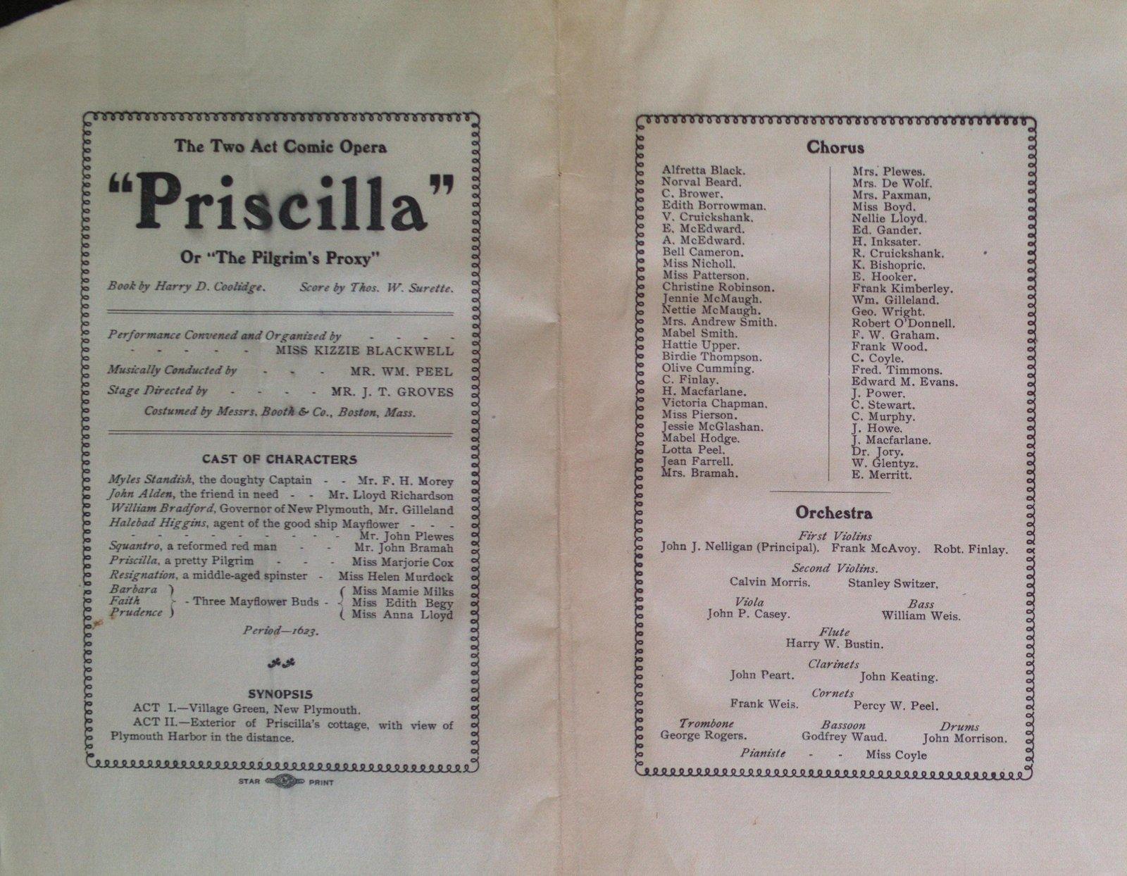 """Teresa Vanderburgh's Musical Scrapbook #2 - Program for the Comic Opera """"Priscilla"""""""