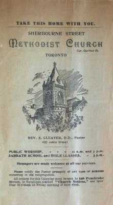 Teresa Vanderburgh's Musical Scrapbook #2 - Sherbourne Street Methodist Church Bulletin