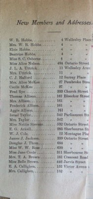Teresa Vanderburgh's Musical Scrapbook #2 - Sherbourne Street Methodist Church Bulletin