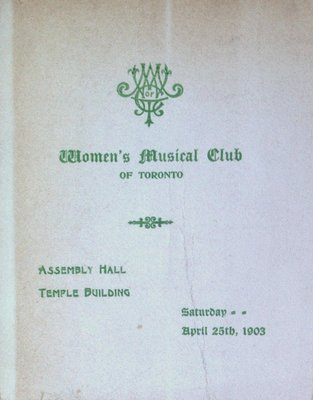 Teresa Vanderburgh's Musical Scrapbook #2 - Women's Musical Club of Toronto Recital Program