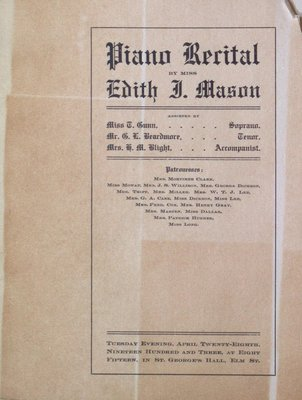 Teresa Vanderburgh's Musical Scrapbook #2 - Program for a Piano Recital Given by Miss Edith Mason.