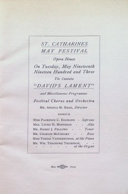 "Teresa Vanderburgh's Musical Scrapbook #2 - Program for the Cantata ""David's Lament"""