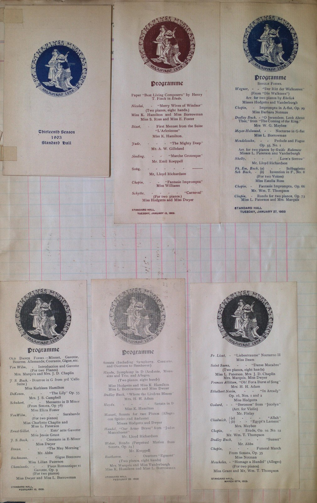 Teresa Vanderburgh's Musical Scrapbook #2 - St. Catharines Musical Circle Programs